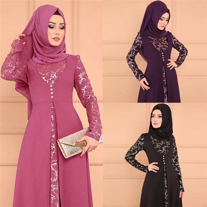 2020 Kaftan Robe Dubai Islam Muslim Maxi Dress Abayas Caftan Marocain Qatar Oman Muslim Clothing Without Hijab