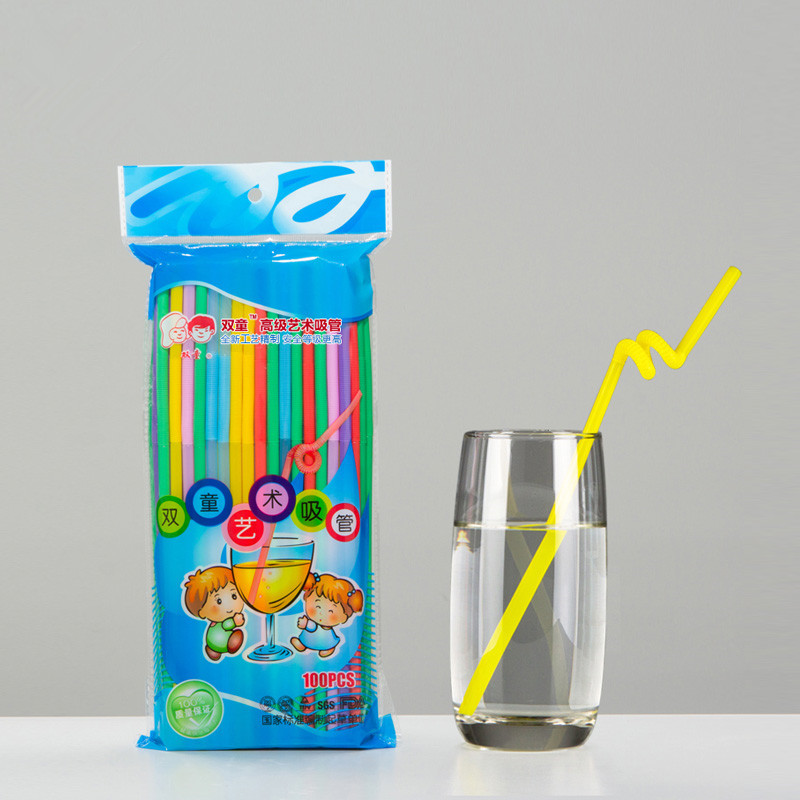 Manufacturers Direct Selling Soton Artistic Straw Wholesale Disposable PP Plastic Beverage Color Extendable Long Straw 71035