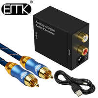 EMK Analog To Digital Audio Converter L/R RCA to Coaxial Optical Toslink SPDIF output converter Adapter for TV Xbox 360 DVD