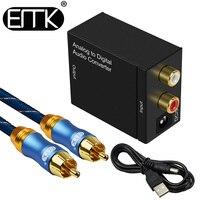 EMK Analog Zu Digital Audio Konverter L/R RCA zu Koaxial Optische Toslink SPDIF ausgang konverter Adapter für TV xbox 360 DVD