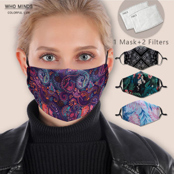 Bandana Reusable Mouth Mask Washable Face Mask With Filter Mask Fashion Adjustable Straps  Windproof Mouth-muffle Flu Mask
