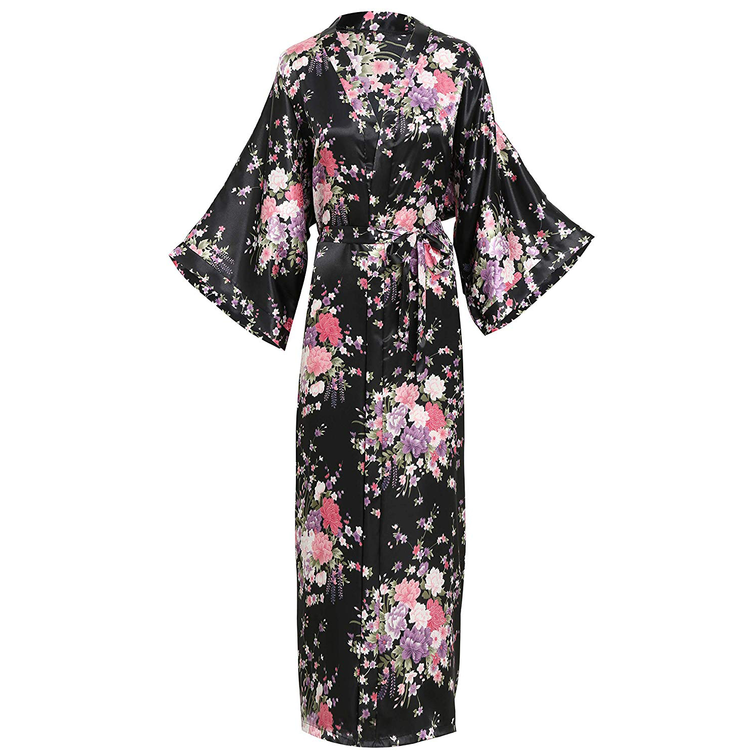 Elegant Women Long Kimon Robe Exquisite Print Flower Bathrobe Gown Intimate Lingerie Casual Satin Soft Wedding Robe Pajamas