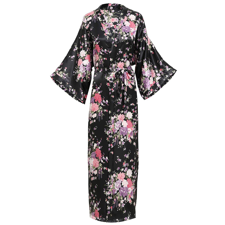 Elegant Women Long Kimon Robe Exquisite Print Flower Bathrobe Gown Intimate Lingerie Casual Satin Soft Wedding Robe Pajamas