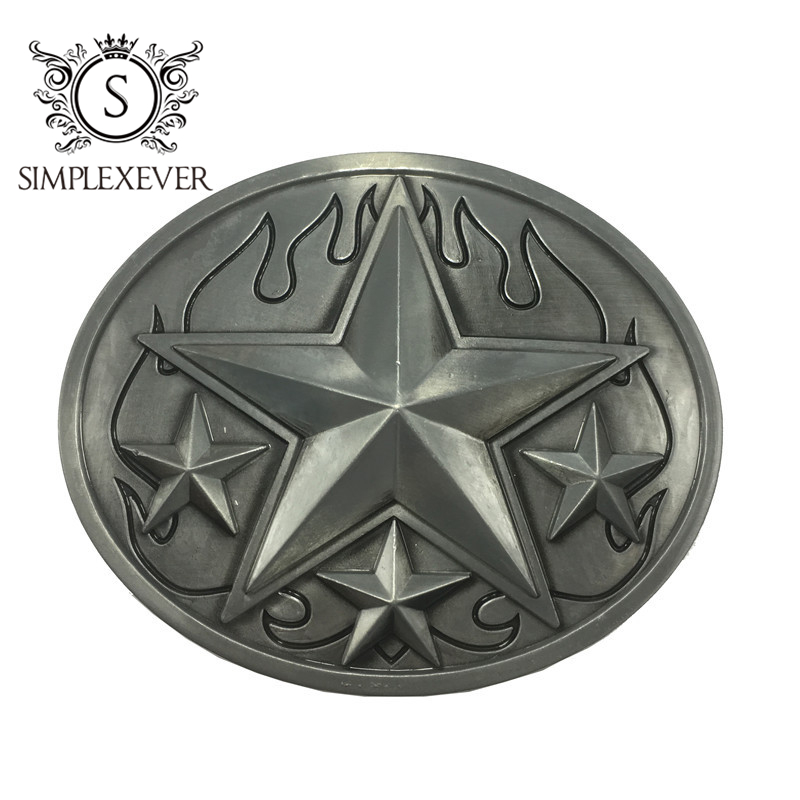 The Five-pointed Star Metal Belt Buckle Head For Men Silver Belt Buckles Nice Jeans Accessories