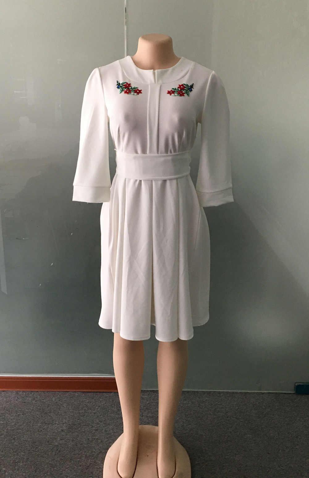 2019 осеннее элегантное модное Стильное Африканское женское платье из полиэстера размера плюс с круглым вырезом длиной до колен M-XXL