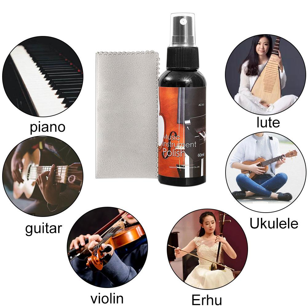 60ml Ukulele Universal Dust Remove Tool Polish Liquid Nursing Oil Guitar String Cleaner Set Care Tool Bass Wipe Cloth