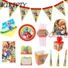 """Тема """"Супер Марио"""" Вечерние бумажные Салфетка под тарелку кружку баннер скатерть конфетная коробка карта соломинка дети мальчик с днем рождения Декор"""