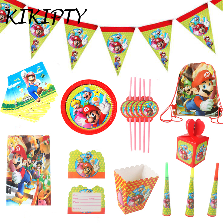Super Mario Theme party paper plate cup napkin banner tablecloth candy box card straw kids boy happy Birthday Party Decor(China)