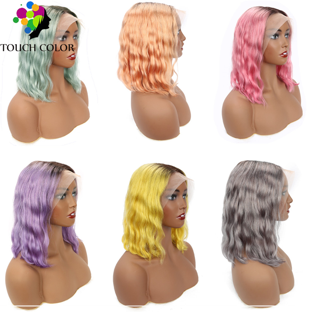 Lace Frontal Wig Short Bob Wigs For Black Women Remy Human Hair Wig Ombre Colored Peruvian Body Wave 13x4 Lace Frontal Wig Blue