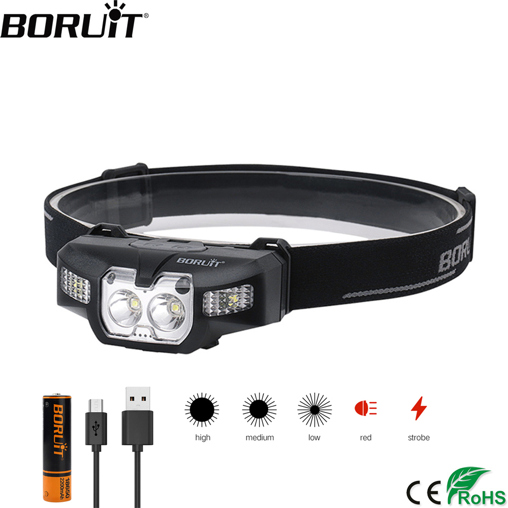 BORUiT B30 LED IR Motion Sensor Mini Headlamp 2* XP-G2+2*3030 Red Light 5-Mode Headlight Rechargeable Head Torch Hunting Light
