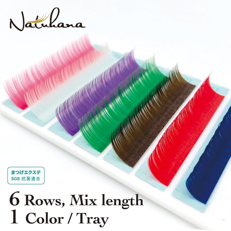 NATUHANA Premium Red Pink Brown Purple Blue Green White Rainbow EyeLash Extension Individual Colored Mink Eyelahses False Lashes