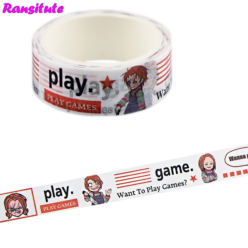 Ransitute Horror Movie Colorful Washi Paper Tape Handmade DIY Decorative Paper Tape Color Tape Album Decoration Tape R728