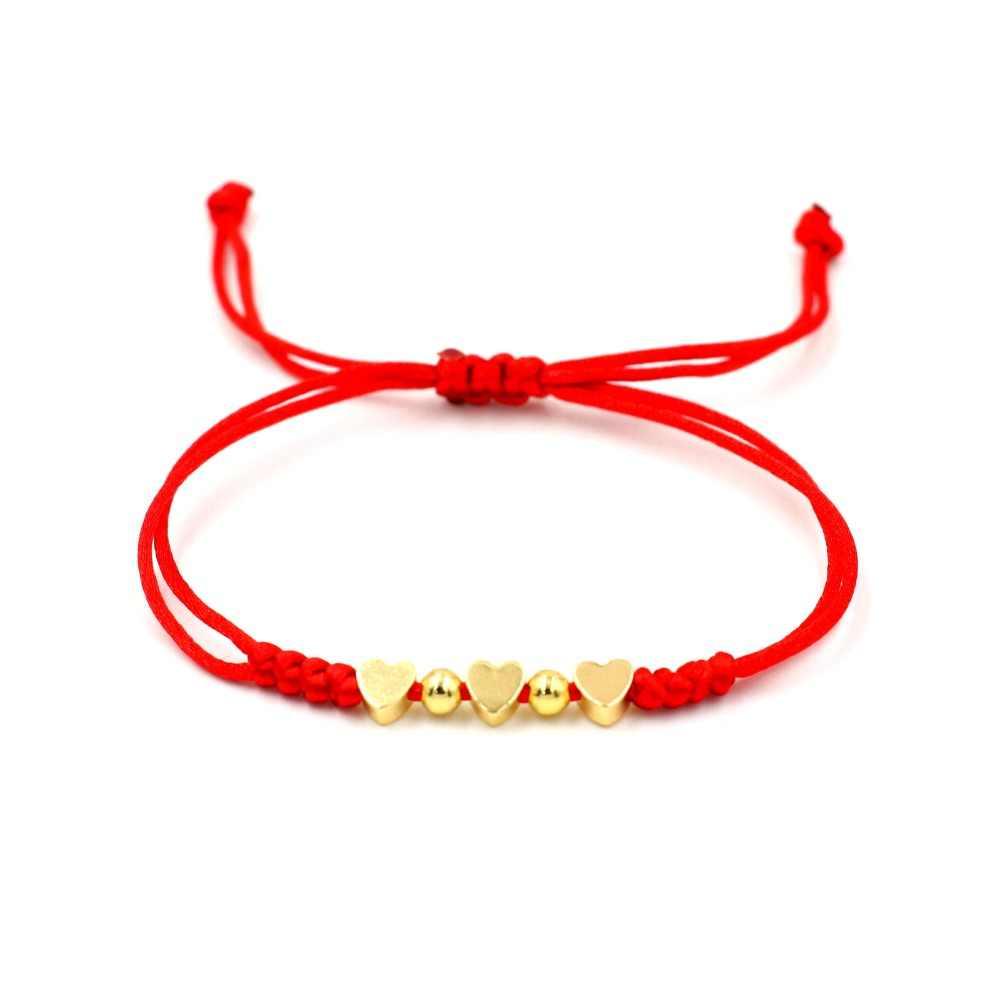 Czerwona nić ciąg 3 serce gwiazda urok bransoletka dla kobiet złota szczęście liny kochanka pleciony regulowane bransoletki dziewczyna biżuteria