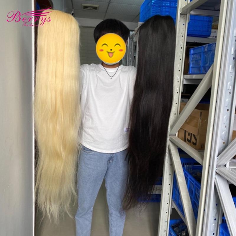 34 36 38 40 Polegada perucas dianteiras do cabelo humano do laço 613 cor brasileira em linha reta 13x4 perucas frontl do laço hd 200% densidade para a mulher preta