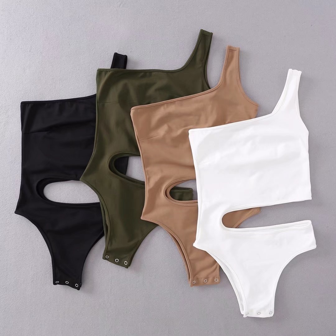 White Outfit One Piece Jumpsuit Women Off One Shoulder Sexy Bodycon Bodysuit Body Suit For Women Green Nude Tops Streetwear