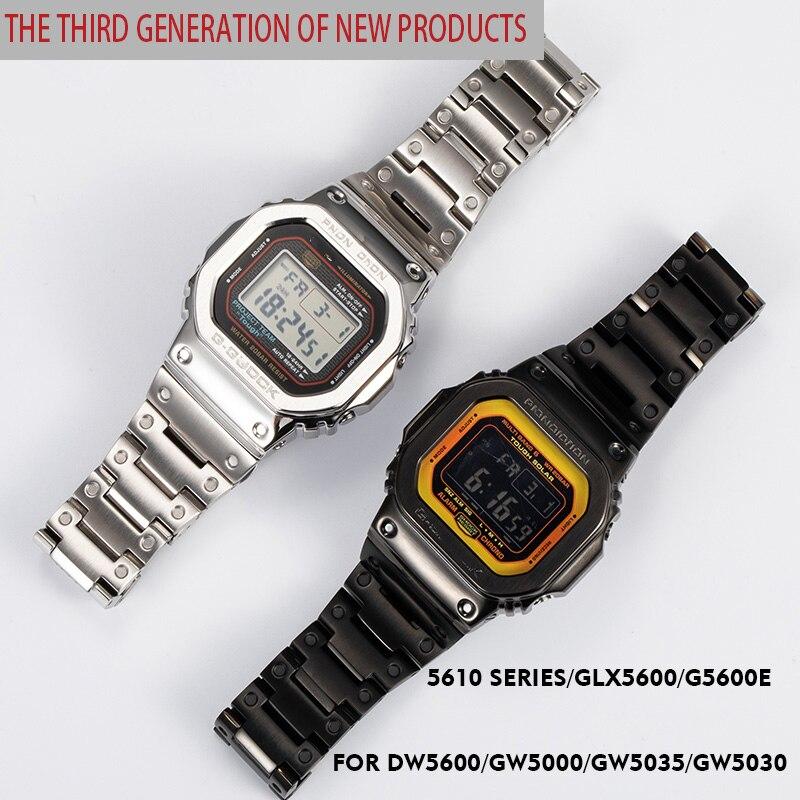 316L stainless steel watchband bezel/case DW5600 GW5000 GW-M5610 metal strap steel belt tools for men/women gift