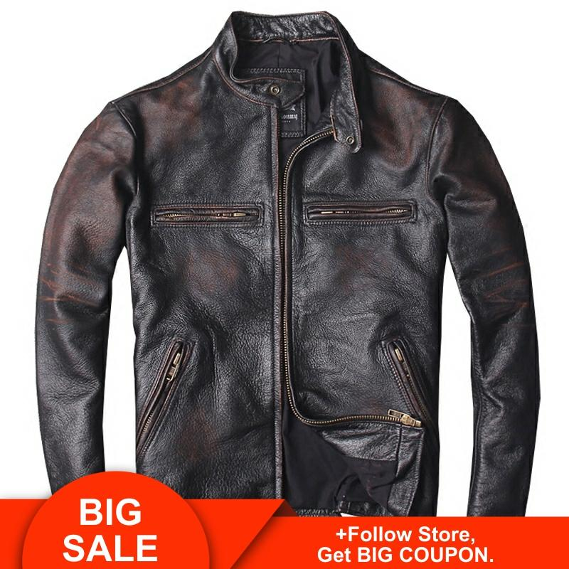 2020 Vintage Men Slim Fit Biker's Leather Jacket Plus Size 6XL Genuine Cowhide Spring Russian Short Leather Coat FREE SHIPPING
