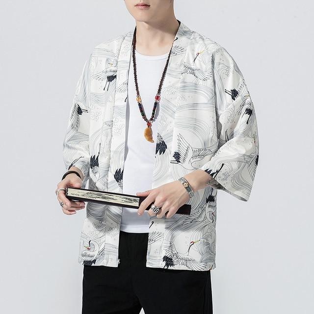 Men&women Crane Robe Plus Size Japanese Style Kimono Gown Loose Cardigan Chinese Traditional Element Han Fu Kimono Haori