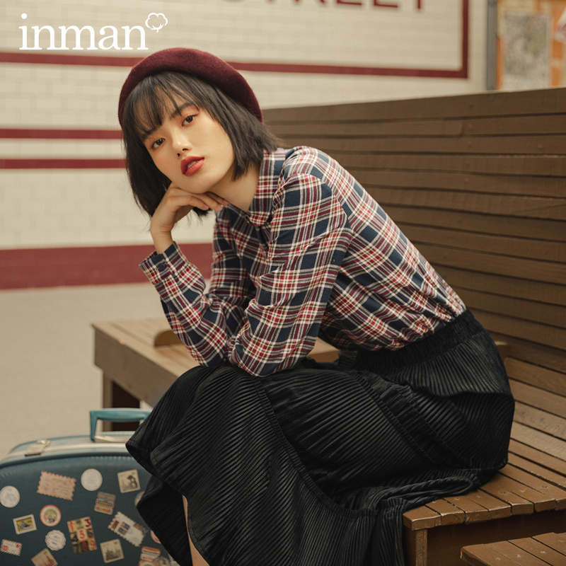 INMAN 2020 Autumn New Arrival Artsy Women Blouse Turn Down Collar Candy Color Button Classic Plaid Comfortable Cotton Tops