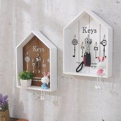 Casa decoração da parede artesanal chave de madeira gancho caixa armazenamento multiuso chaves pendurado para roupas suporte wj111529
