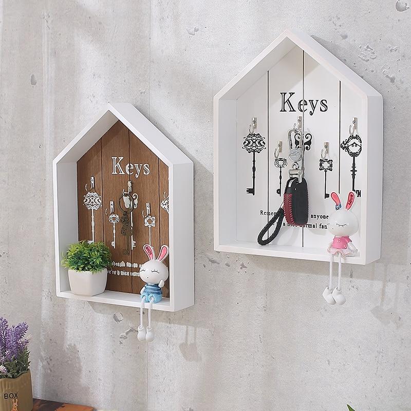 Hogar Decoración de pared llave hecha a mano gancho de madera caja de almacenamiento multiusos llaves colgantes para soporte de ropa WJ111529