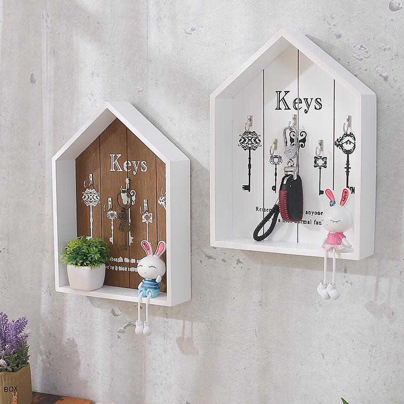 Home wall decoration handmade key wooden hook storage box multipurpose  keys hanging  for clothes  stand WJ111529