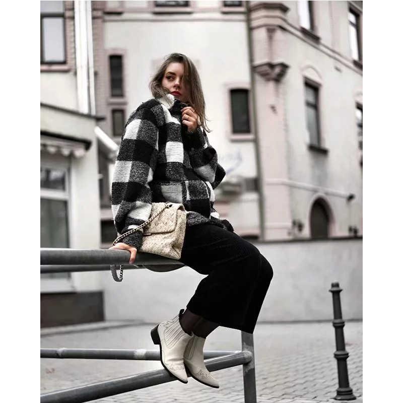 Za Phong Cách Mùa Xuân Mùa Đông Nữ Kẻ Sọc Đen Trắng Plus Tweed Dày Kiểm Tra Áo Khoác Nữ Oversize Áo Khoác Nữ Shirtwear Áo Khoác