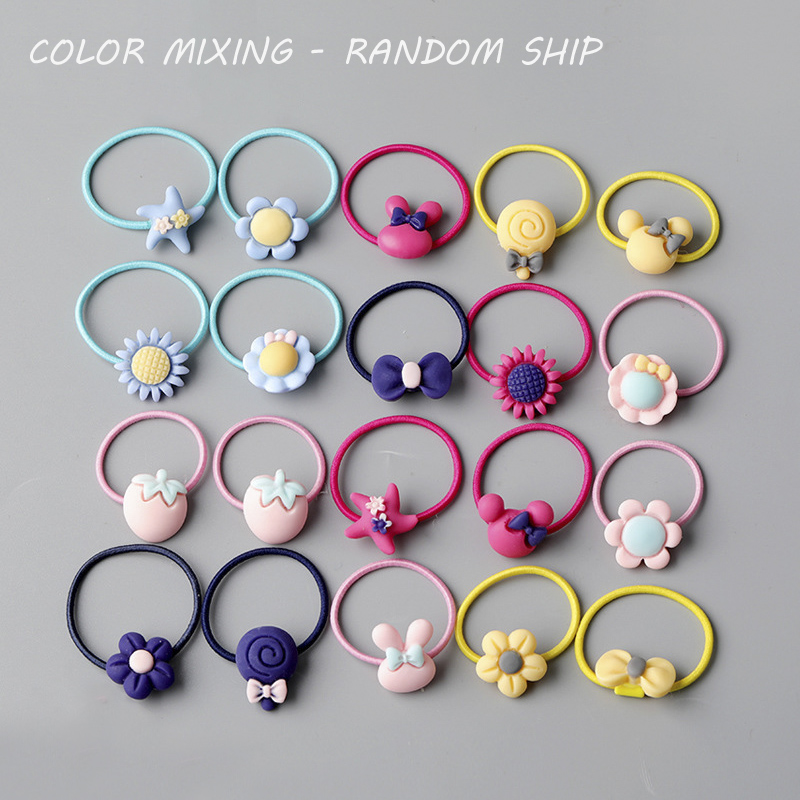 Headwear Hair-Ring Rubber-Band Korean-Version Girl Baby Cute Sweet Cartoon 10/20pcs