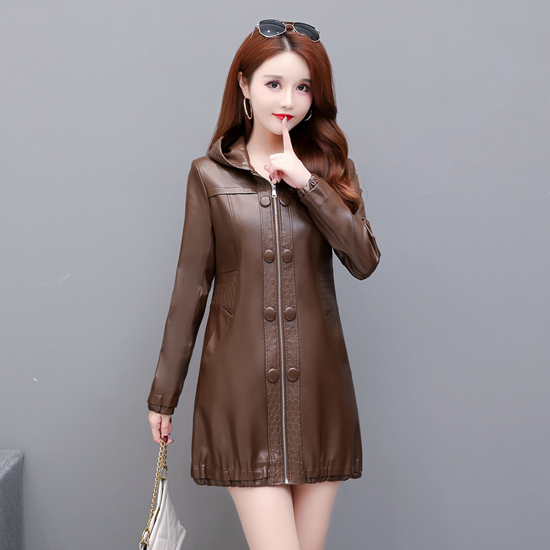 Fashion Large Size 3XL 4XL Women's Leather Jacket Long Coat Female 2021 Spring And Autumn Ladies Clothing Hooded Outerwear New