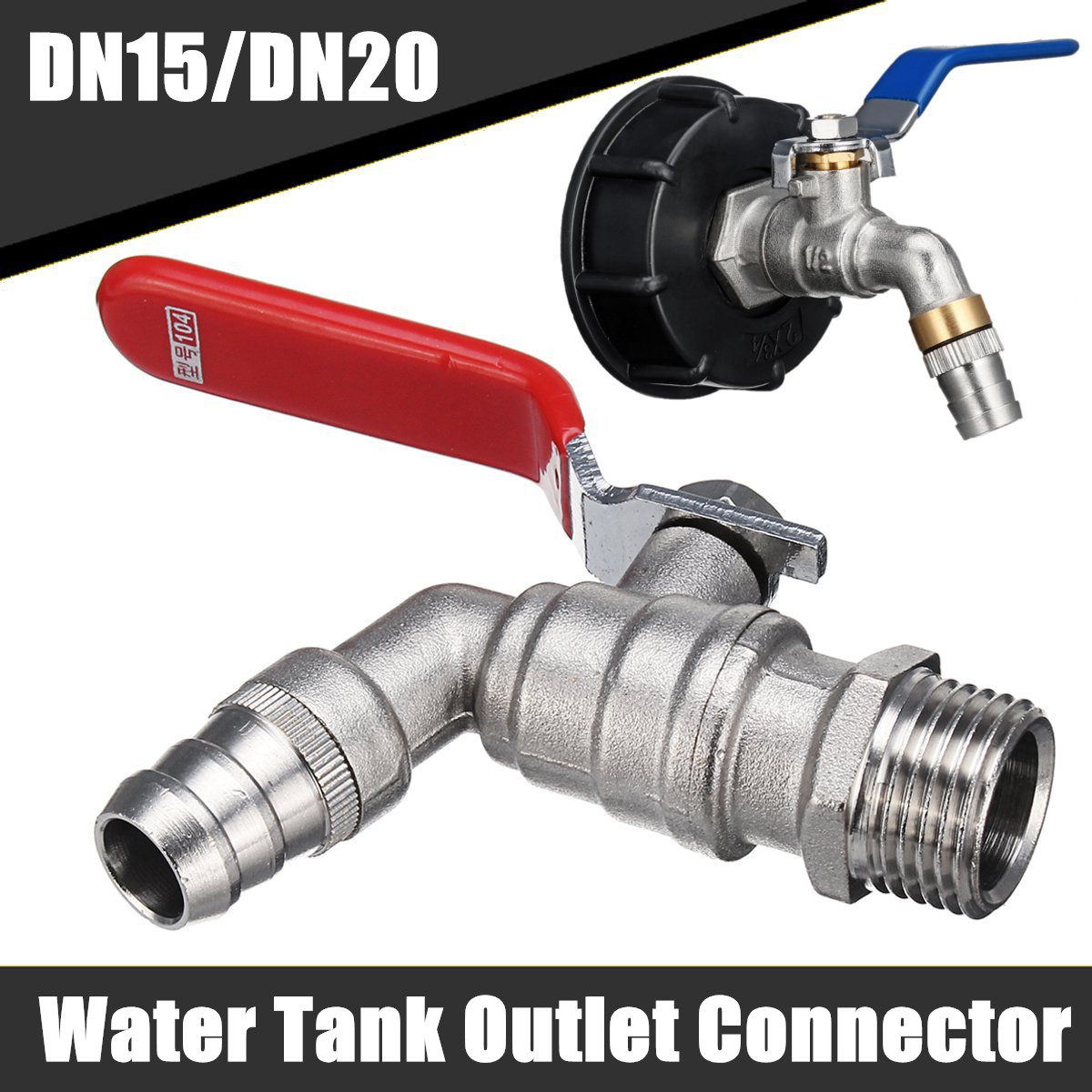DN15//DN20 S60X6 Water Tank Outlet Connector Thread Mounting IBC Tank Tap Adapter