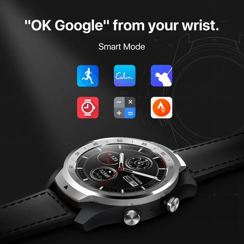 TicWatch Pro montre intelligente hommes Android Smartwatch NFC paiement Google Play multi-langue soutien IP68 étanche TicWatch officiel - 3