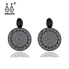 DREJEW Vintage Art Gold Black Alloy Circle Statement Dangle Earrings Fashion Round Drop for Women Wedding Jewelry E0321