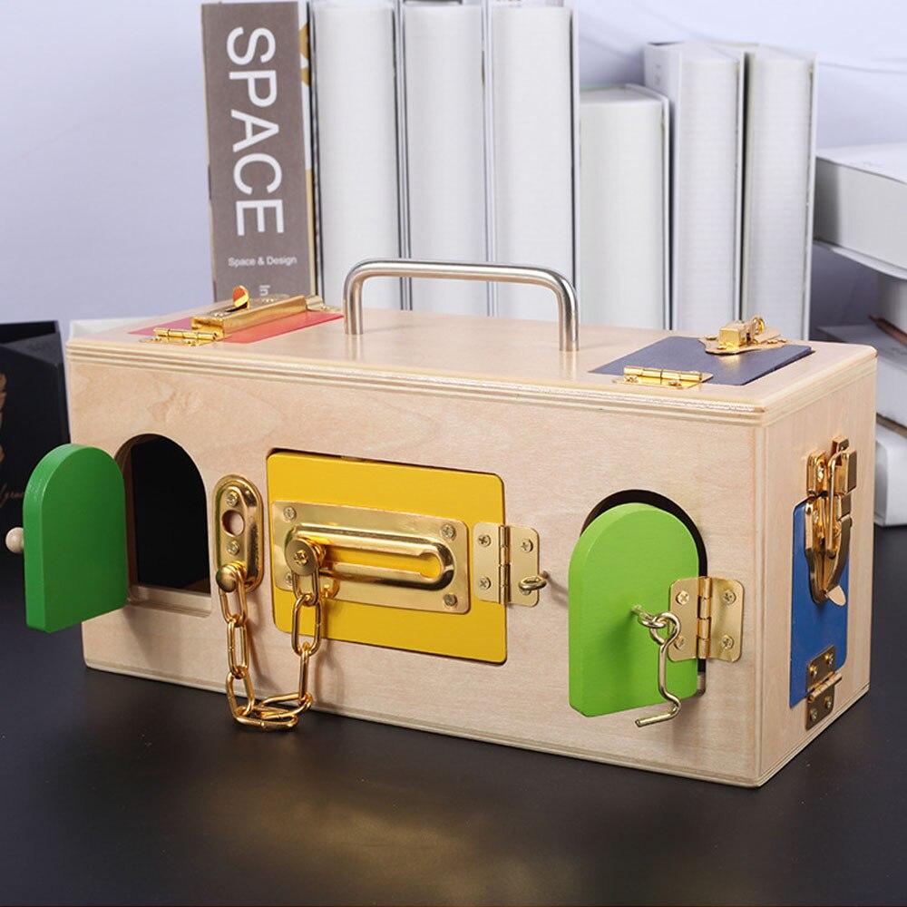 Éducation de la petite enfance en bois Montessori jouet 3 ans serrure boîte éducation sensorielle jouets en bois enfants Montessori bébé jouets - 4