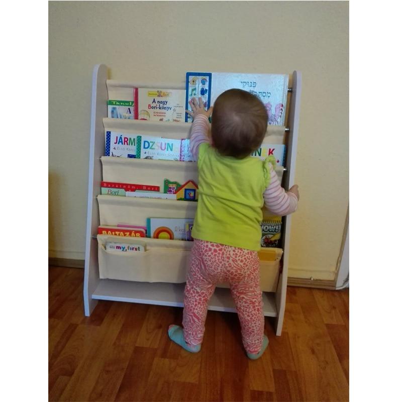 Image 4 - 5 Tier Kids Wood Book Shelf Sling Storage Rack Bookcase Display Organizer Holder Children Bookshelf Home Decoration
