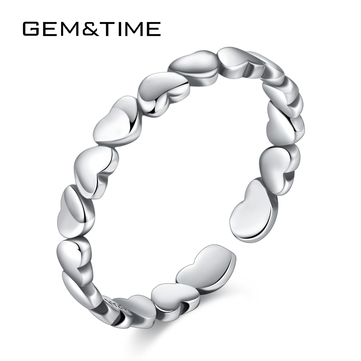 Gem&Time Forever Love Heart Silver 925 Stackable Finger Ring For Women Wedding 100% 925 Sterling Silver Jewelry 2019 HOT SR0280