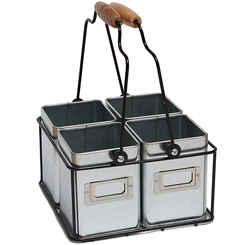 Multiple Usage Wood Handle Handmade Wire Basket Caddy With 4 Galvanized Zin Boxes Kitchen Racks Desktop Tableware Storage Basket