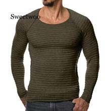 Mens Sweaters 2020 Autumn Winter New Knitted Sweater Men Long Sleeve Striped Sweaters Solid Slim Fit Men Pullover