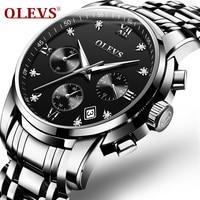 OLEVS Watches Men Quartz Date Calendar Chronograph Stainless Steel Luxury Top Brand Waterproof Sport Watch Business Wristwatch