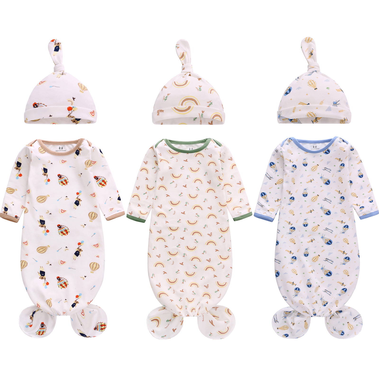 2PC Set Newborn Baby Long-Sleeved Wrapper Baby Bear Balloon Anti-Starter Anti-Kick Sleeping Bag Swaddling Quilt Hat Baby Clothes