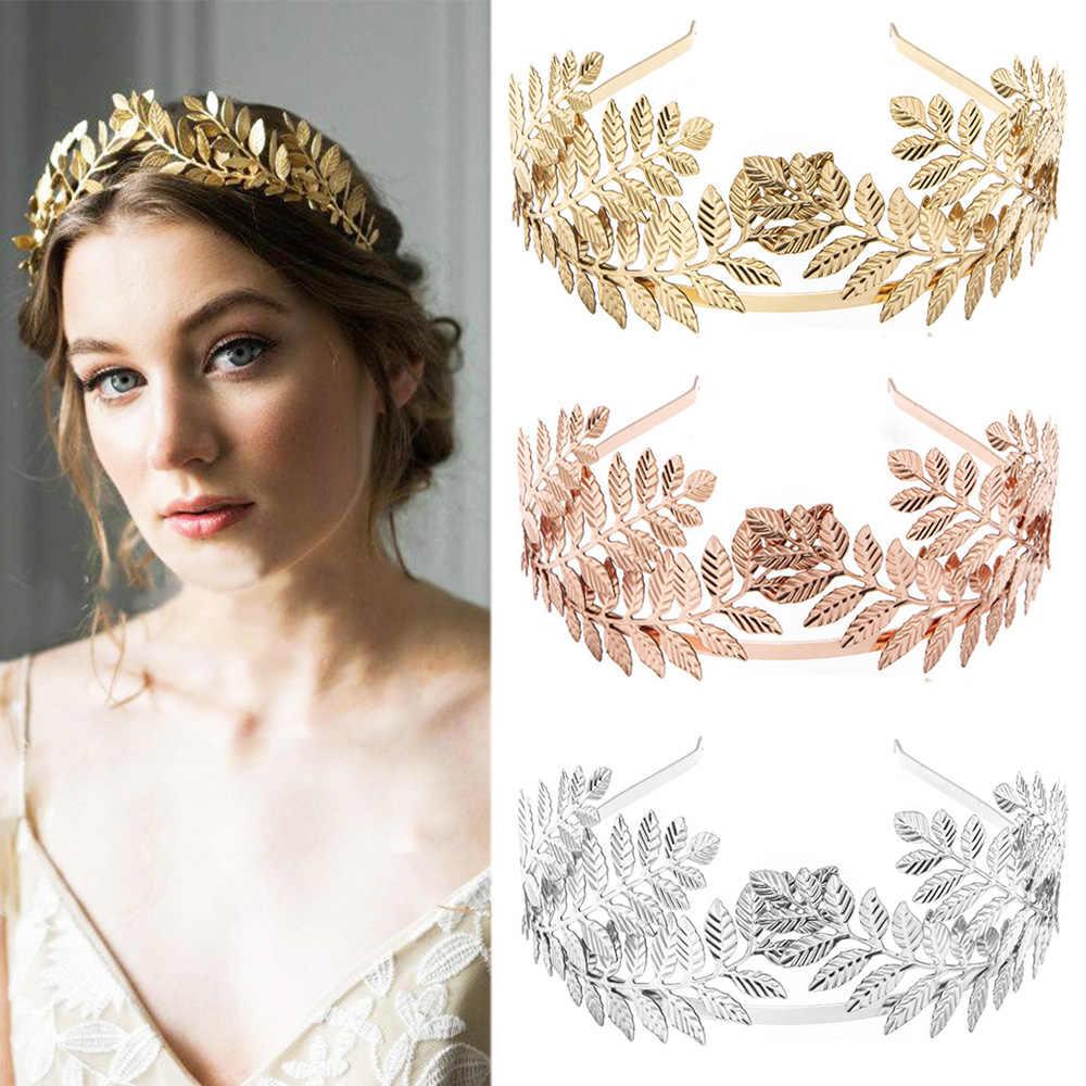 Accesorios para el cabello para novia bandas para el cabello corona de hojas doradas coreanas diadema de tiara de boda con perlas Vintage corona para el cabello para mujeres y niñas New2019