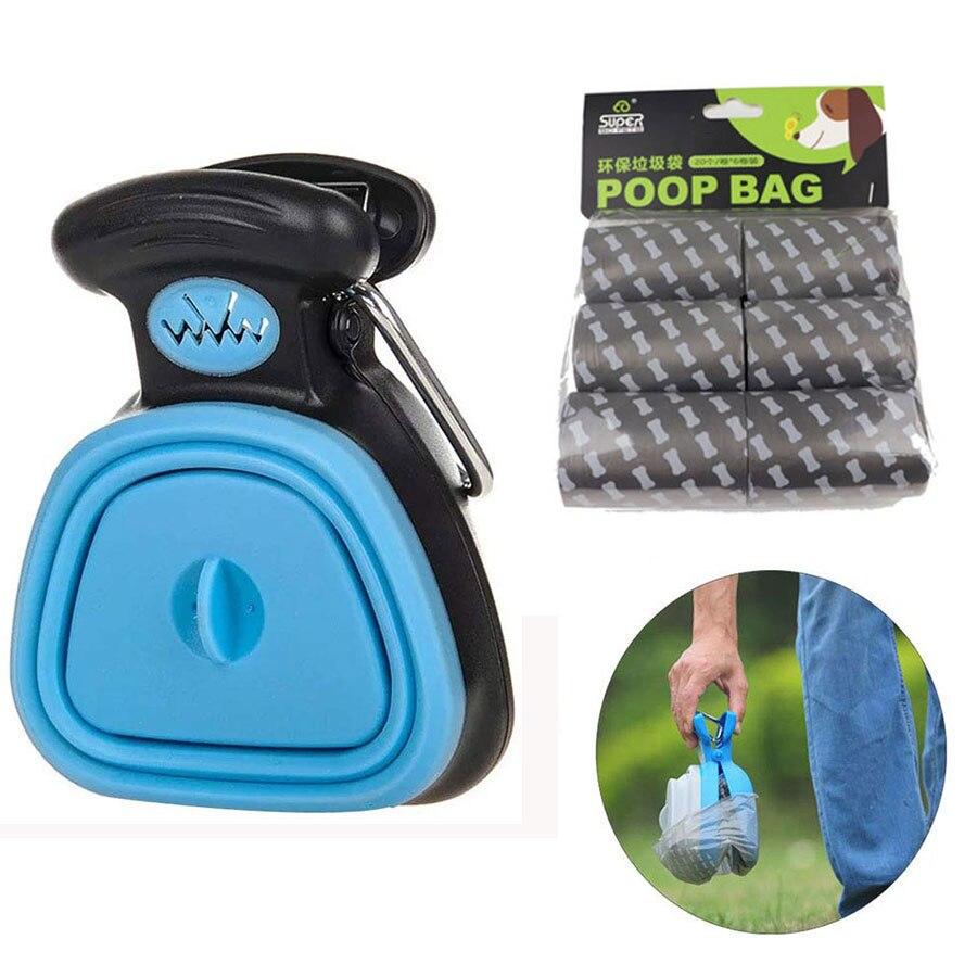 Foldable Dog Poop Bag Dispenser Pet Waste Picker Travel Pooper Scooper Scoop Clean Pick Up Pet Dog Excreta Cleaning Tools
