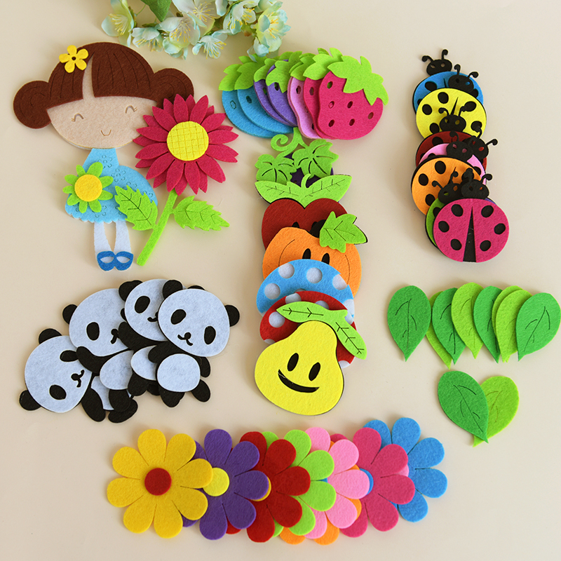 T-N Non-woven Toy Animal Ladybug Bee Panda Butterfly Felt DIY Pack Kindergarten Decoration Primary School Classroom Wall Sticker