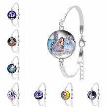 2019 New Dark Angel Wings Fairy Round Glass Pattern Ladies Bracelet Black Convex Gift Ornaments