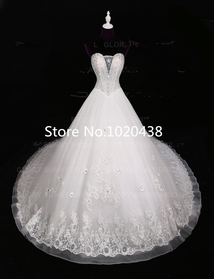2016 New Collection Own Design Strapless Lace Appliques Crystal Beading Luxury Design Small Flowers Custom Made Wedding Dress