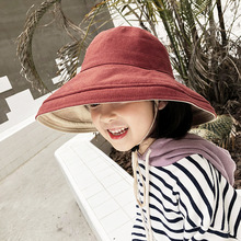 Childrens Hat Solid Color Double Sided Baby Boy Fisherman Kids Spring Summer Bucket Outdoor Travel Sunscreen Caps for Girls