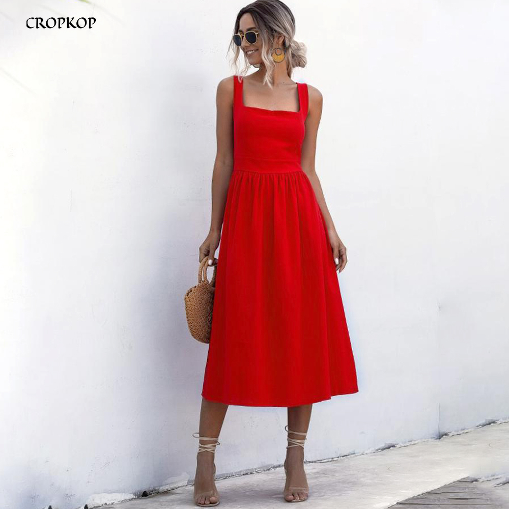 Women Long Dress Summer Sexy Backless Casual White Black Ruched Slip Midi Sundresses 2020 Ladies Pleated Spaghetti Strap Clothes(China)