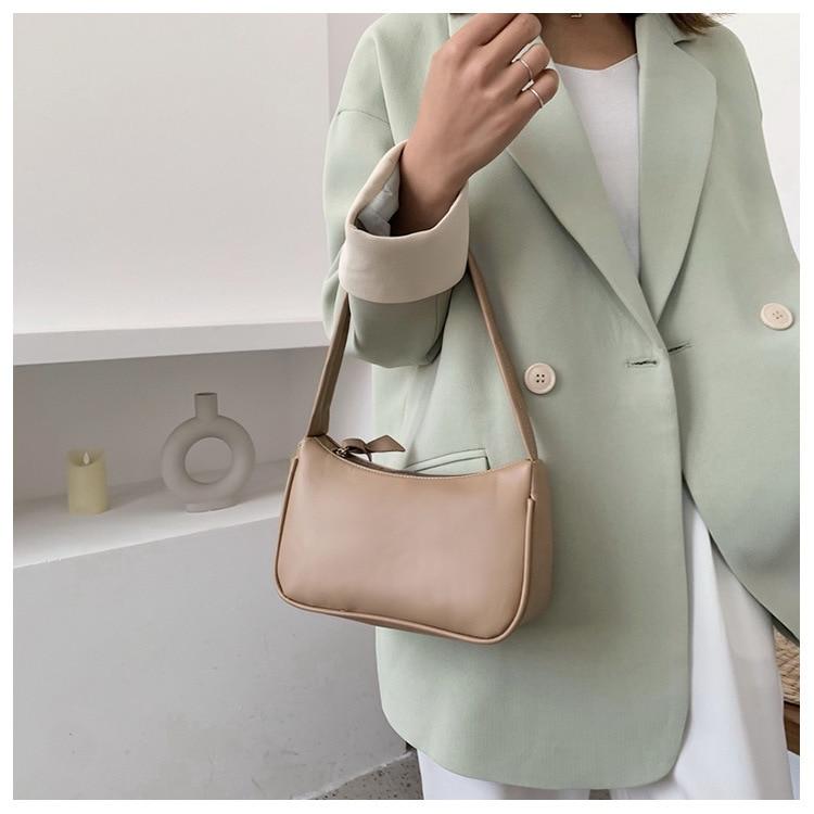 Женская сумочка из мягкой искусственной кожи, фиолетовая однотонная Сумочка под подмышку в стиле ретро, сумочки багет, модные дизайнерские ...