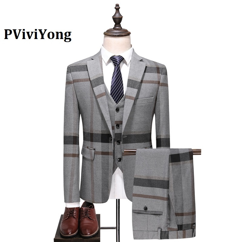 PViviYong Brand 2019 High Quality Suit Men Wedding, Dinner,date Grid Leisure Business Suit 3 Piece (Jackets + Vest + Pants) 6102