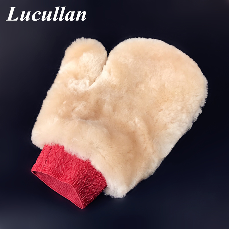 Double Side No Scratch Original Genuine Sheep Skins Mitt,Super Soft Hair Wool Car Wash Mitt