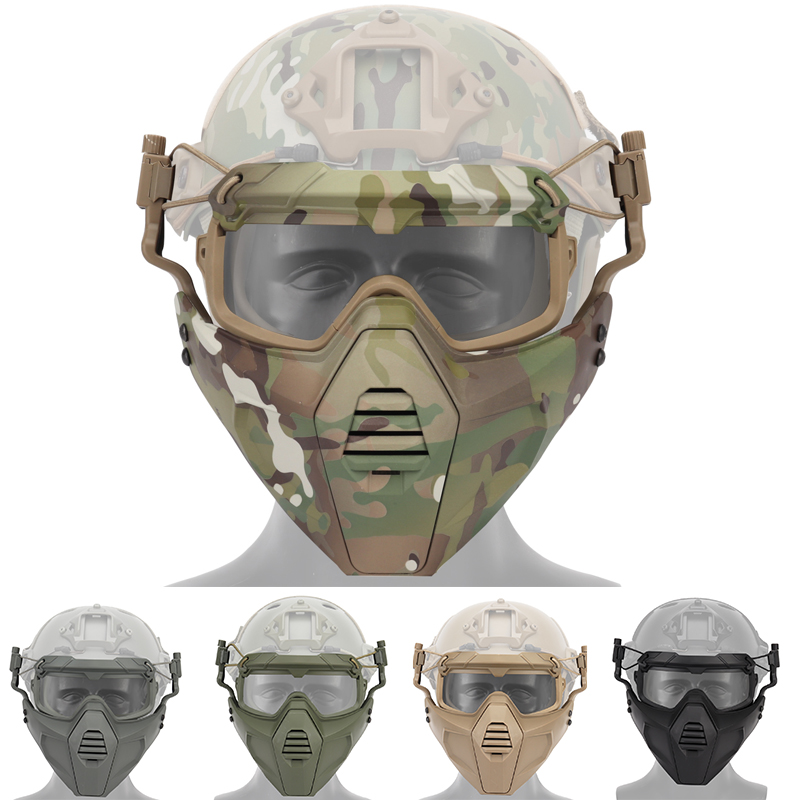 Airsoft Paintball Hunting Mask + Goggles Set Tactical Military Combat Half Face Mask CS Game Protective Masks + Glasses